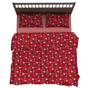 Pościel świąteczna 160×200 cm MIKOŁAJE Bawełna komplet 2-częściowy