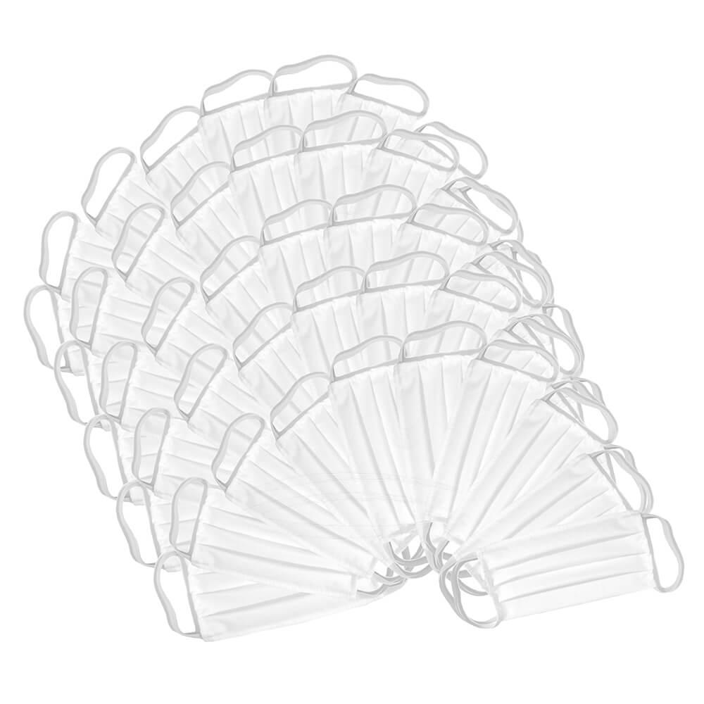 50x Maski ochronne WIELORAZOWE Białe Maseczki Bawełniane Higieniczne Zestaw